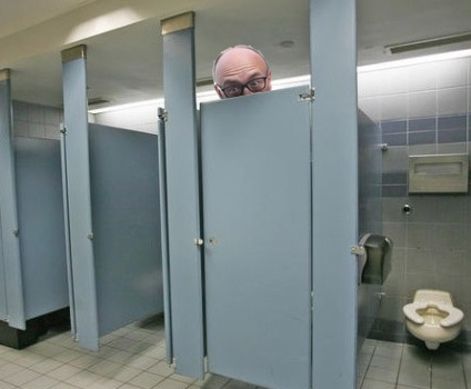 Dominic Cummings in a toilet cubicle