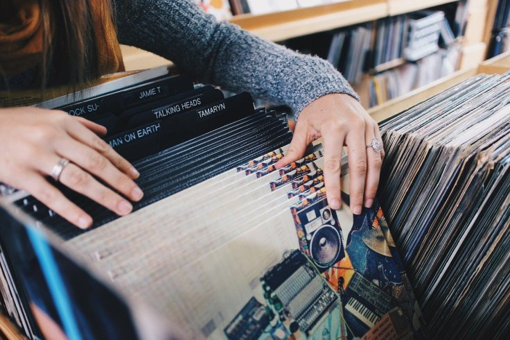 Vinyl records browsing in record hop