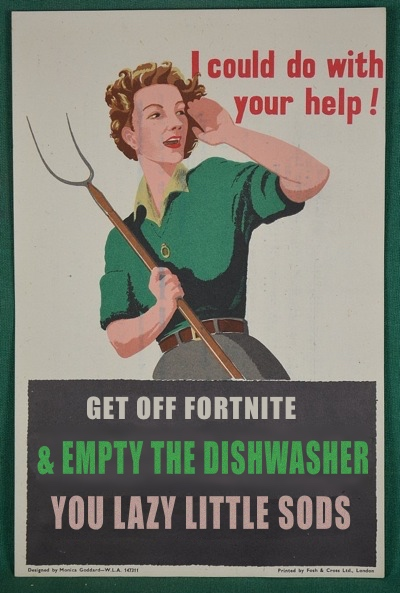 Get off Fortnite - Corona Virus poster - update from World War Two poster