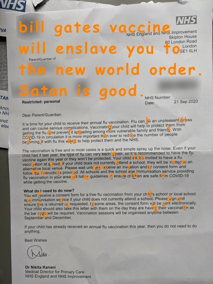 NHS flu Bill Gates message